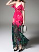 Red Spaghetti Printed Abstract Maxi Dress