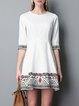 White Polka Dots Casual Cotton Mini Dress