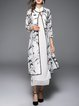 Plus Size White Two Piece Printed 3/4 Sleeve Midi Dress