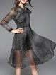 Black Crew Neck Casual Polka Dots Midi Dress