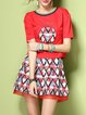 Short Sleeve Crew Neck Casual Polyester Two Piece Mini Dress