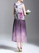 Purple Printed Ombre/Tie-Dye Sleeveless Midi Dress