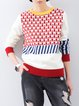 Red Casual Geometric Color-block Sweater