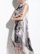 Vintage Graphic Sleeveless Crew Neck Midi Dress