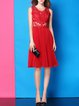 Red Pleated A-line Sleeveless Midi Dress