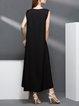 Casual Plain Sleeveless V Neck Midi Dress