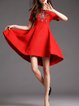Red Cotton Plain Asymmetrical Cocktail Midi Dress