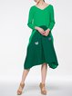Polyester Appliqued Casual Long Sleeve Midi Dress