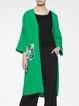 Green H-line Polyester Plain Casual Coat