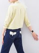 Yellow Long Sleeve Cotton-blend Embroidered Blouse