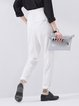 White Polyester Shirred Stripes Casual Straight Leg Pants