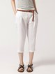 White Linen Casual Cropped Pants
