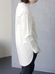 White Cotton Casual Plain Blouse