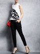 Black Casual Pockets Plain Straight Leg Pants
