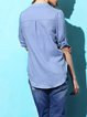 Blue Plain Casual Stand Collar H-line Short Sleeved Top