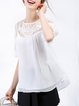 White Half Sleeve Crew Neck Silk Plain Short Sleeved Top