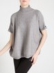 Gray Short Sleeve Wool Blend Plain Sweater