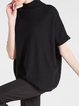 Black Short Sleeve Wool Blend Knitted Sweater