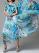 Blue Short Sleeve Floral-print A-line Maxi Dress