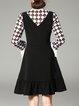 Black Geometric Paneled Polyester Frill Sleeve Midi Dress