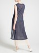 Navy Blue Sleeveless Plain Midi Dress
