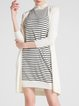 White Wool Blend Long Sleeve Stripes Two Piece Mini Dress