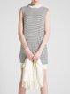 White Wool Blend Long Sleeve Stripes Two Piece Mini Dress