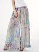Multicolor Chiffon Beach Floral Wide Leg Pants