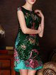 Green Floral-print Sleeveless Mini Dress