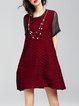 Cotton Short Sleeve Paneled Crew Neck Casual Mini Dress