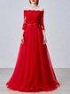 Red Off Shoulder 3/4 Sleeve Evening Dress