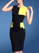 Black Crew Neck Color-block Polyester Sleeveless Midi Dress