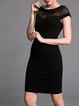Black Paneled Short Sleeve Cotton-blend Mini Dress