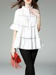 White Paneled A-line Cotton-blend Half Sleeve Blouse