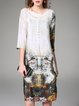 White 3/4 Sleeve Printed Silk Midi Dress