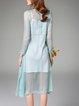 Long Sleeve Casual Silk Two Piece Midi Dress