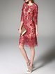 3/4 Sleeve Sheath Floral Polyester Casual Midi Dress