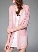 Pink 3/4 Sleeve Polyester Cardigan