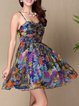 Multicolor Spaghetti Floral Silk Beach Mini Dress