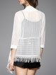 White Asymmetrical Fringed 3/4 Sleeve Coat