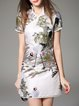 White Short Sleeve V Neck Mini Dress