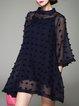 Plus Size Dark Blue 3/4 Sleeve Polyester A-line Asymmetric Mini Dress