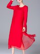 Red Simple H-line Solid Midi Dress