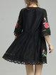 Silk Floral Girly A-line Frill Sleeve Mini Dress