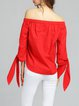Red 3/4 Sleeve Off-shoulder Blouse