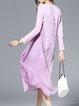 Purple Embroidered Elegant A-line Silk Midi Dress