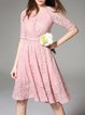 Pink Elegant Crew Neck Midi Dress