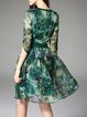 Green Floral Polyester Elegant V Neck Midi Dress