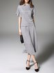 Gray Two Piece Polyester Casual Jumpsuit