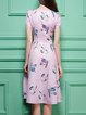 Pink Short Sleeve Polyester Printed A-line Midi Dress